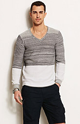 Ombre Blocked V-Neck Sweater
