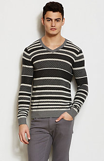 Micro Pattern Striped V-Neck