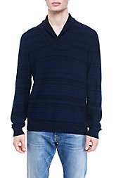 Tonal Stripe Shawl Collar Sweater