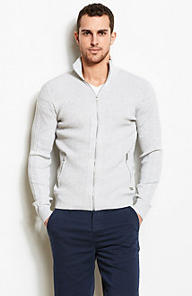 Ribbed Zip Front Sweater