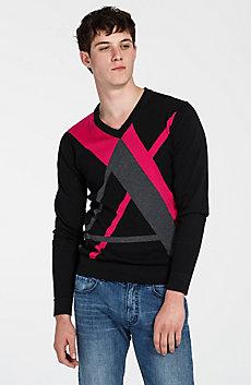 Intarsia Logo V-Neck Sweater