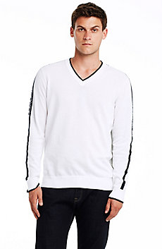 Jacquard Stripe Logo Sweater