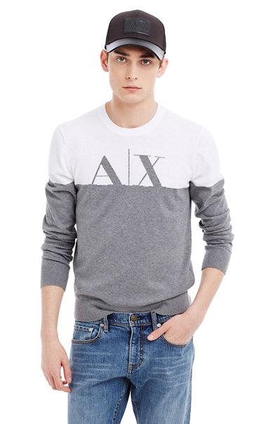 Cotton Intarsia Colorblocked Logo Sweater