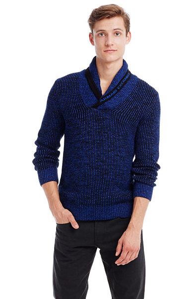 Ribbed Shawl Logo Sweater