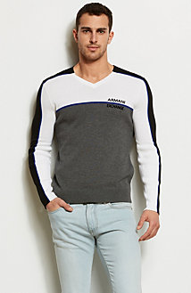 Colorblock Logo V-neck Sweater