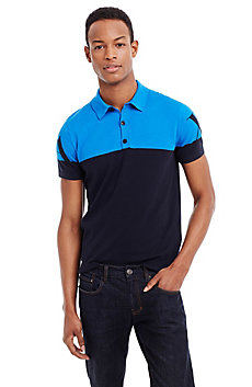Cotton Intarsia Colorblocked Logo Polo
