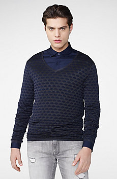 Wave Pattern V-Neck