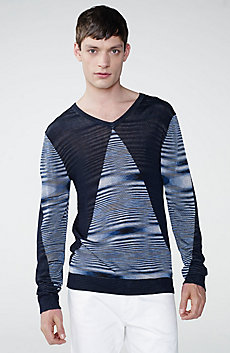 Blocked Space-Dye V-Neck