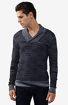 Space-Dye Shawl Collar Sweater
