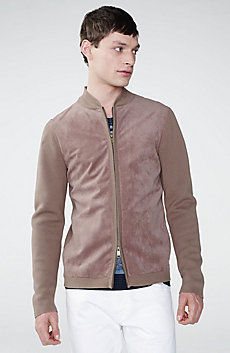 Suede-Front Bomber Jacket