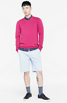 Reversed Jersey V-neck Sweater