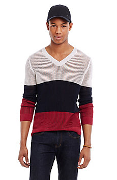 Open-Weave Colorblock Sweater