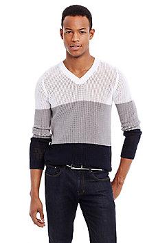 Open-Weave Colorblock Sweater