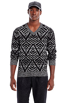 Graphic V-neck Sweater