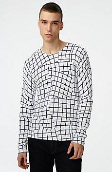 Long-Sleeve Broken Grid Sweater