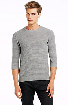 3/4 Sleeve Textured Stripe Crew