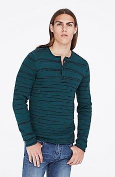 Spaced-Dyed Henley Sweater