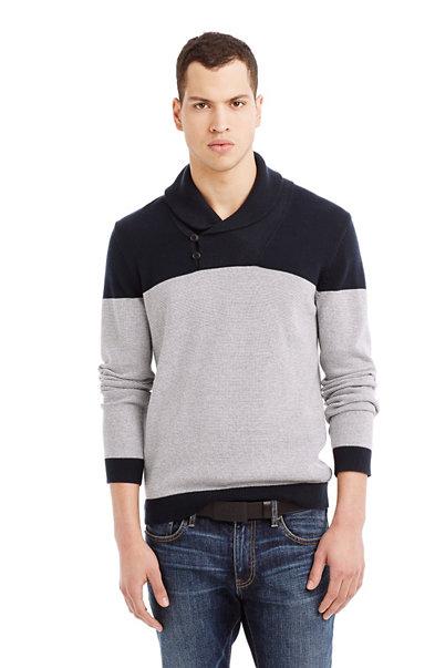 Colorblock Shawl Sweater