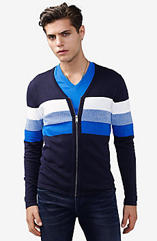 Gradient Stripe Zip Cardigan