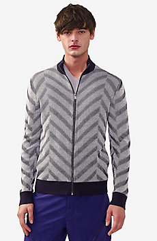 Chevron Mockneck Zip-Up