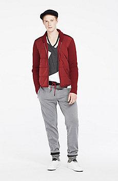 Mixed Media Zip-Up Sweater