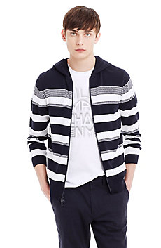 Striped Terry Yarn Hooded Sweatshirt