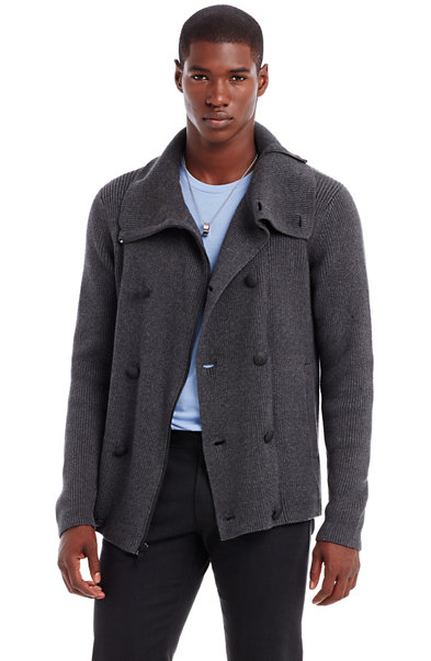 Double Breasted Sweater Coat