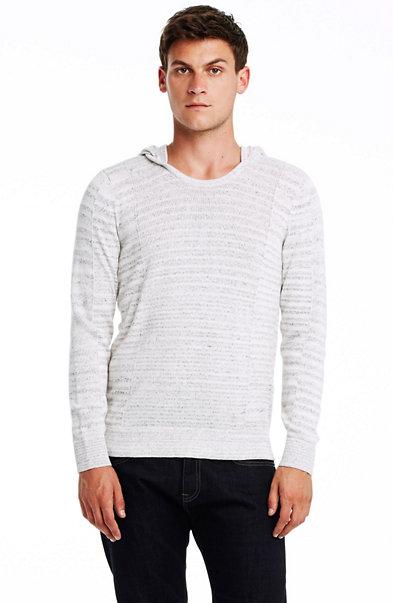 Textural Stripe Hoodie Sweater