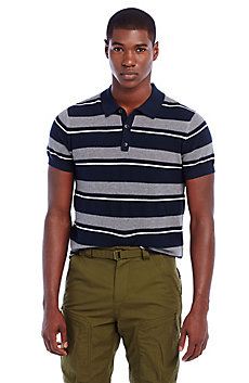 Striped Mesh Polo