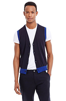 Mouline Contrast Knit Cotton Sweater Vest