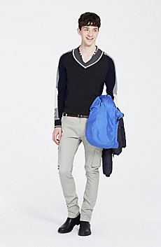 Colorblock Cashmere V-Neck Sweater