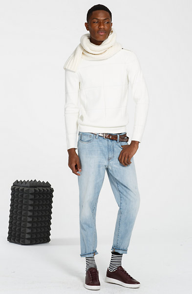 Merino Blend Textured Grid Sweater