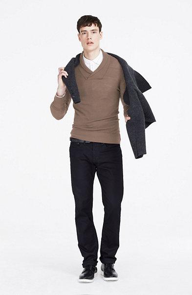 Waffled Wool Shawl Sweater