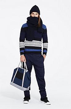 Reverse Striped Wool Sweater