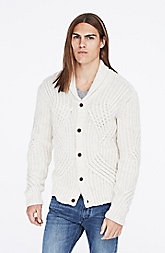 Curved Cable-Knit Cardigan