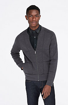 Merino Wool Blend Large Grid Jacket