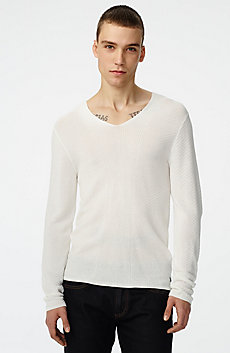 Long-Sleeve Pyramid Stitch V-Neck Sweater
