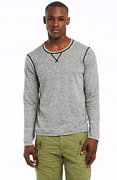 Heathered Coverstitched Crew Sweater