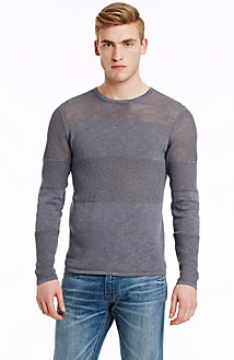 Semi Sheer Tonal Stripe Sweater