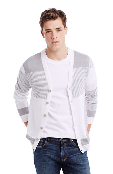 Blocked Linen Cardigan