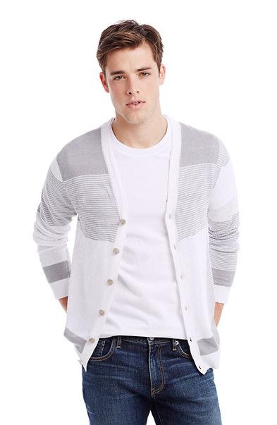 Blocked Linen Cardigan