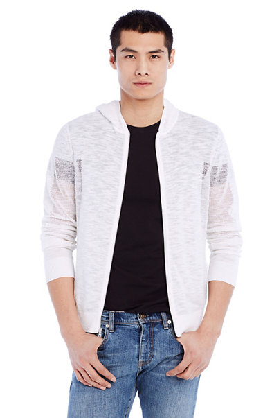Mesh Panel Hooded Shirt