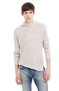 Stretch Slub Linen Hooded Sweater
