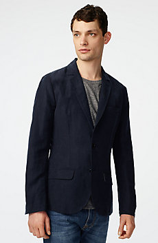 Two-Button Linen Blend Blazer