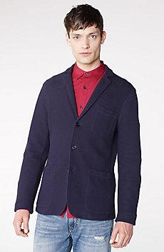 Knit Three-Button Shawl Blazer