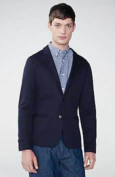 Bi-Color Pique Knit Blazer
