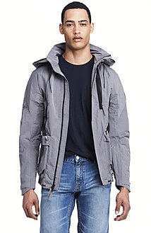 Hooded Nylon Zip Front Jacket