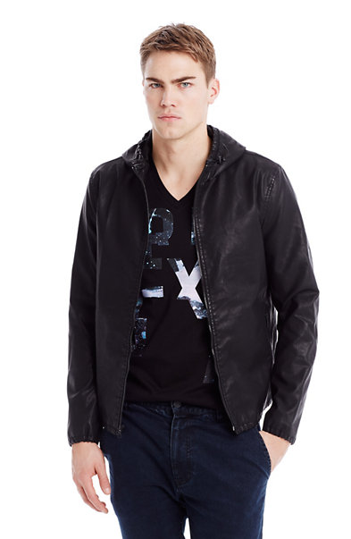 Hooded Faux-Leather Jacket