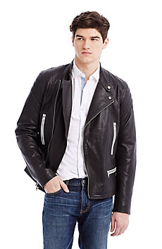 Tipped Leather Moto Jacket