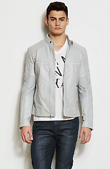 Sleek Leather Moto Jacket<br>Online Exclusive